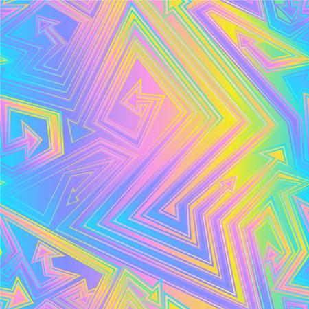 Holographic effect arrow seamless texture. Ilustração