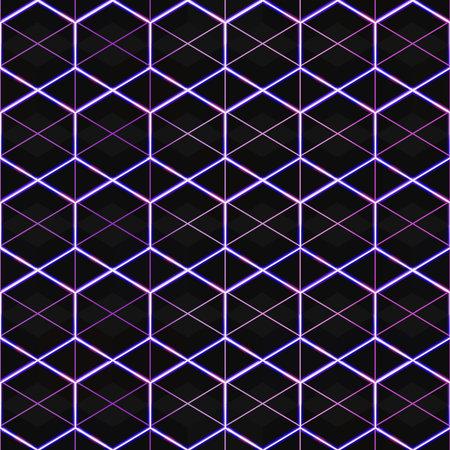 Neon mosaic frames seamless pattern.