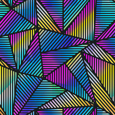 Triangle neon geometric seamless pattern.