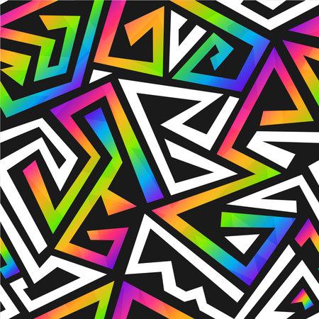 Rainbow color graffiti seamless pattern.