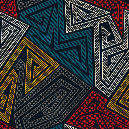 Vintage geometric pattern with grunge effect. Ilustração
