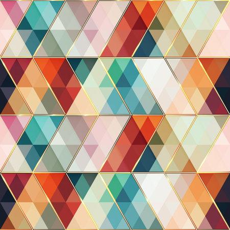 Retro triangle mosaic. Seamless pattern.