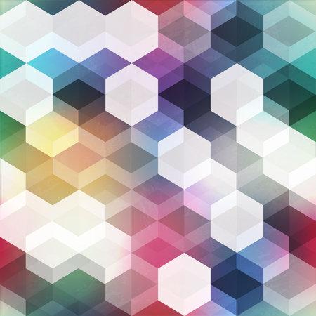 Retro colored hexagonal seamless pattern.