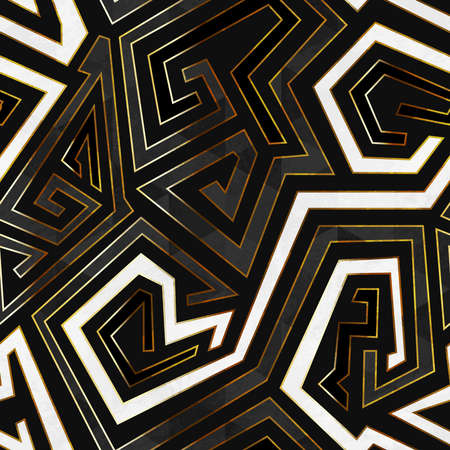 Retro geometric seamless pattern with gold frame.
