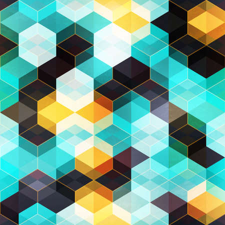 Retro mosaic with gold frame. Seamless pattern.