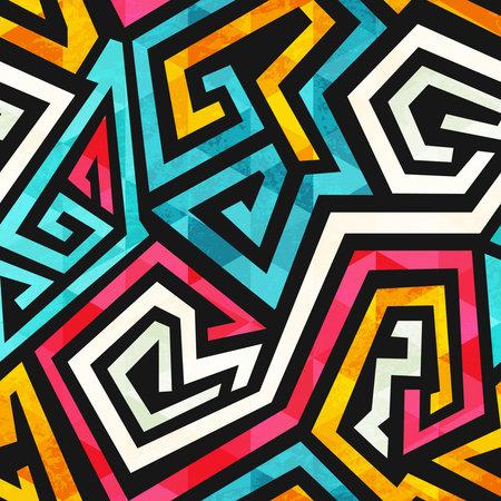 Graffiti geometric pattern with grunge effect. Ilustração