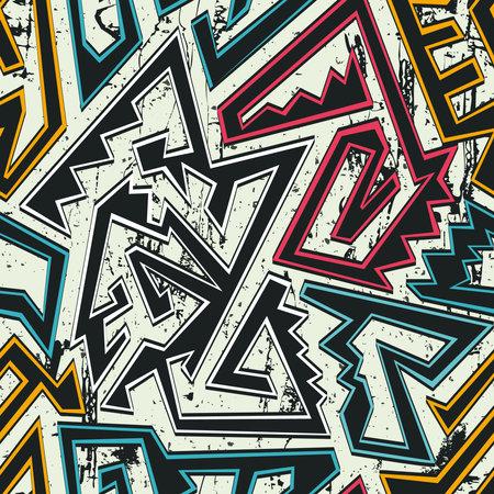 Tribal seamless pattern with grunge background. Ilustração