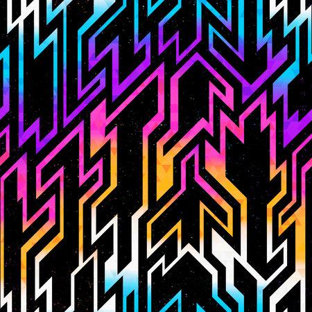 Rainbow space geometric pattern with grunge effect. Ilustração