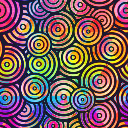 Vibrant circle geometric seamless pattern. Ilustração