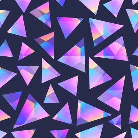 Triangle holographic geometric seamless pattern.