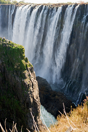 View of Victoria Falls from the ground. Mosi-oa-Tunya National park.