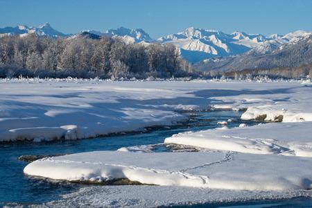 Winter landscape. USA. Alaska. Chilkat River. An excellent illustration.