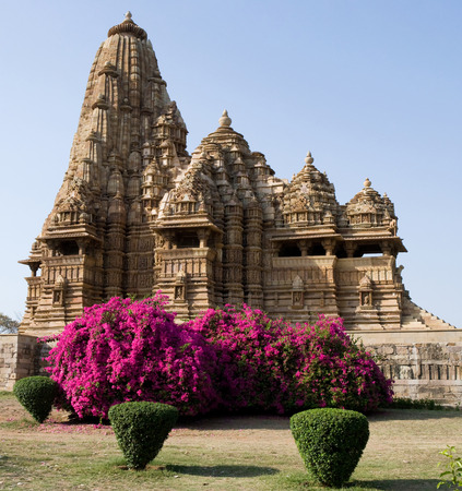 A fragment of the Indian temple of Khajuraho. India.