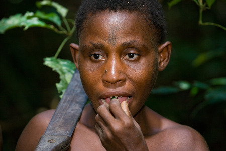 DZANGA-SANHA FOREST RESERVE, CENTRAL AFRICAN REPUBLIC - NOVEMBER 2, 2008: Portrait of a woman from a tribe of pygmies.