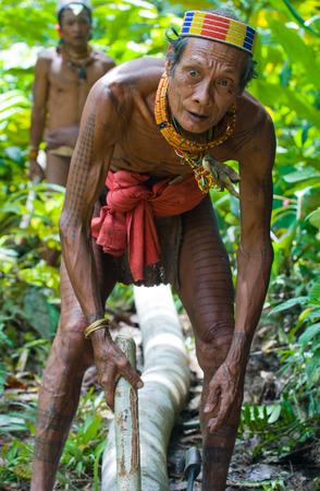 MENTAWAI PEOPLE, WEST SUMATRA, SIBERUT ISLAND, INDONESIA - 16 NOVEMBER 2010: Man Mentawai tribe in the jungle makes his clothes from the tree bark. Editoriali