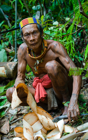 ancients: MENTAWAI PEOPLE, WEST SUMATRA, SIBERUT ISLAND, INDONESIA - 16 NOVEMBER 2010: Man Mentawai tribe in the jungle makes his clothes from the tree bark. Editorial