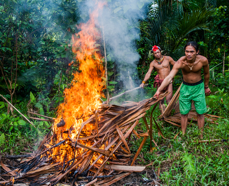 ancients: MENTAWAI PEOPLE, WEST SUMATRA, SIBERUT ISLAND, INDONESIA - 03 OKTOBER 2011: Man Mentawai tribe prepares on a fire killed a wild pig hunting.