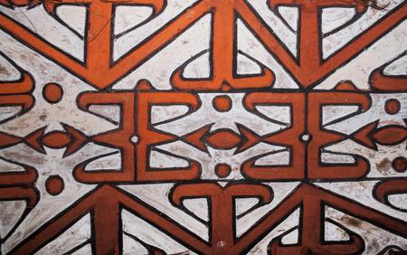 INDONESIA, IRIAN JAYA, ASMAT PROVINCE, JOW VILLAGE - JUNE 12: The pattern on the shield of a warrior Asmat tribe.