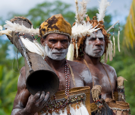 INDONESIA, IRIAN JAYA, ASMAT PROVINCE, JOW VILLAGE - JUNE 12: Warriors Asmat tribe. Editorial