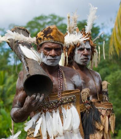 INDONESIA, IRIAN JAYA, ASMAT PROVINCE, JOW VILLAGE - JUNE 12: Warriors Asmat tribe. Editorial