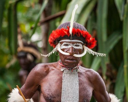 DANI VILLAGE, WAMENA, IRIAN JAYA, NEW GUINEA, INDONESIA - 25 JULY 2009: Dani tribe Warriors.