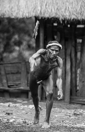 lanzamiento de jabalina: DANI VILLAGE, Wamena, Irian Jaya, Nueva Guinea, Indonesia - 15 MAY 2012: Dani Dani hombre tribu lanza el anillo para el lanzamiento de jabalina.
