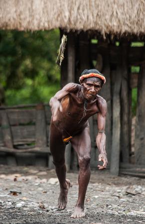 DANI VILLAGE, WAMENA, IRIAN JAYA, NEW GUINEA, INDONESIA - 15 MAY 2012: Dani Man Dani tribe throws the ring for the javelin throw.