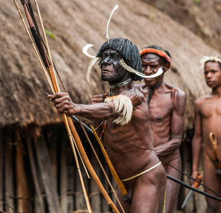 Nuova Guinea: DANI VILLAGE, Wamena, Irian Jaya, Nuova Guinea, Indonesia - 15 MAY 2012: Uomini Dani tribù sparare una freccia.
