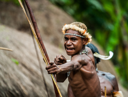 DANI VILLAGE, WAMENA, IRIAN JAYA, NEW GUINEA, INDONESIA - 15 MAY 2012: Men Dani tribe shoot an arrow. Editorial