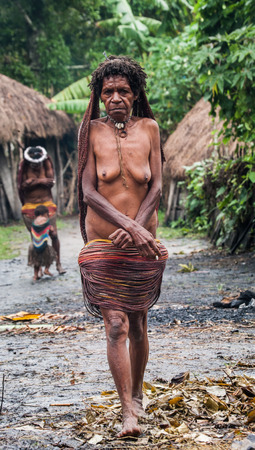dani: DANI VILLAGE, WAMENA, IRIAN JAYA, NEW GUINEA, INDONESIA - 15 MAY 2012: Woman Dani tribe in the traditional village.