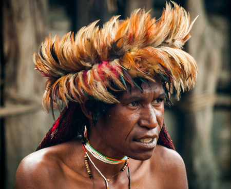 DANI VILLAGE, WAMENA, IRIAN JAYA, NEW GUINEA, INDONESIA - 15 MAY 2012: Portrait of Dani tribe in a beautiful headdress made of feathers.