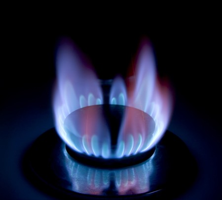 Close-up of a lit gas stove/cooker Stock Photo - 4127405