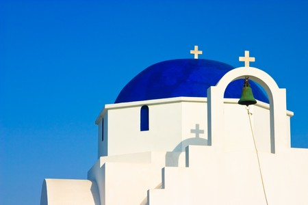 kyklades: The facade and dark blue dome of a traditional church on the Greek island of Antiparos
