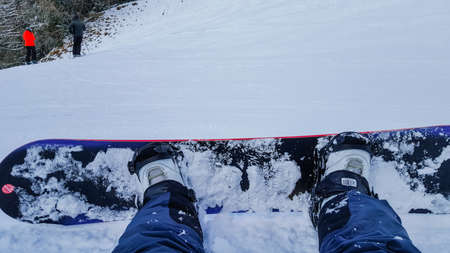 Snowboarder Point Of View On His Feet Upon The Slope