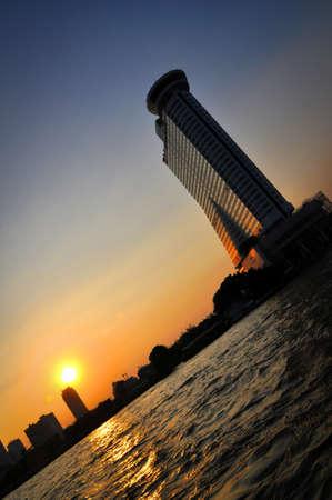 Building in Bangkok at sunset Stock Photo