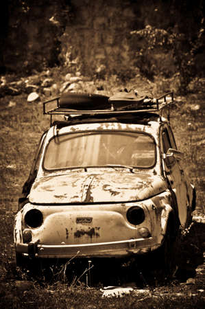 Wreck of a Legend of the Automotive Lost in the Meadow