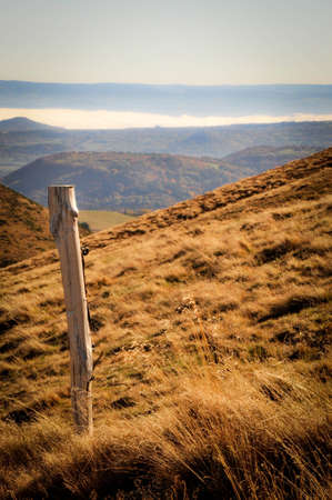 Picket Standing on the Hills of Auvergne Stock Photo