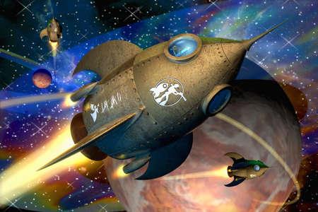 Illustration of futuristic rockets in the universe illustration