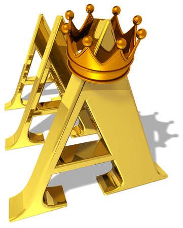 remuneraci�n: S�mbolo de la calificaci�n de AAA con una corona de oro Foto de archivo