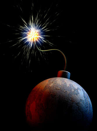 end of the world: The planet earth as a bomb with burning fuse at a black background