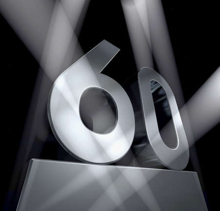Number sixty in silver letters on a silver pedestal