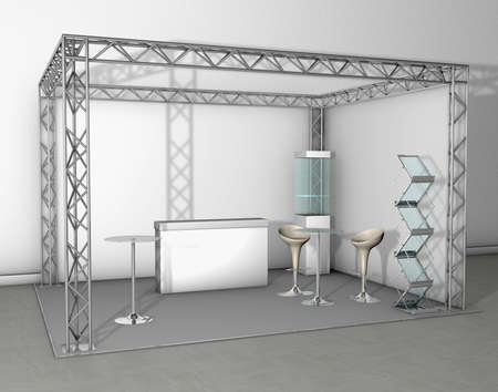 talk show: Exhibition stand with counter and chairs Stock Photo