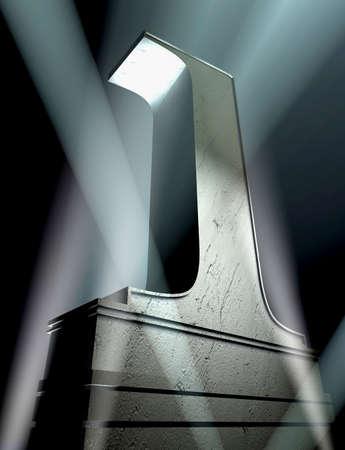 numero uno: Numero uno in argento lettere su un piedistallo argento