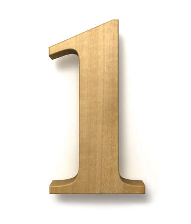 Number one made of wood isolated on a white background photo