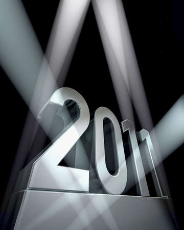 Nombre de 2011 sur un socle argent�e