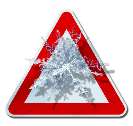 Snow warning road sign with snowflake inside         photo