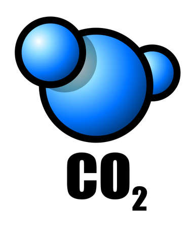 dioxide: Illustration of a carbon dioxide molecule Stock Photo