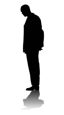 the thinker: Silhouette of a man on white background