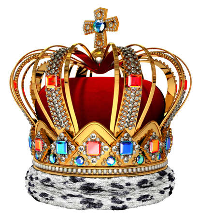 golden crown: Royal crown with jewellery decoration
