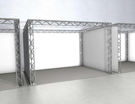Empty trade exhibition stands at a grey floor